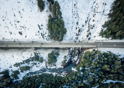 I-90 Highway from Above in Mountains in Washington