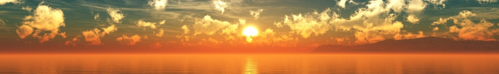 Beautiful sea sunset, panorama of sea sunrise, 3D rendering.