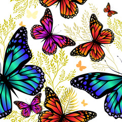 Photo sur Aluminium Papillons dans Grunge Abstraction summer. Flowers with butterflies. Seamless background. Vector illustration