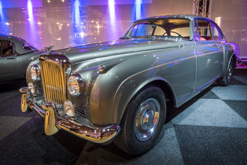 MAASTRICHT, NETHERLANDS - JANUARY 14, 2016: Luxury car Bentley Continental S2, 1961. Boby by H. J. Mulliner. International Exhibition InterClassics & Topmobiel 2016