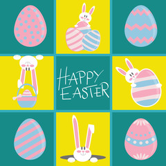 Colorful Happy Easter greeting card with rabbit and easter eggs. Funny rabbits card. Easter greeting card with bunny
