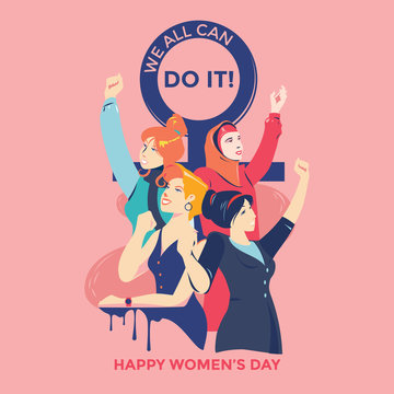 International Women's Day. Illustration women different nationalities and cultures