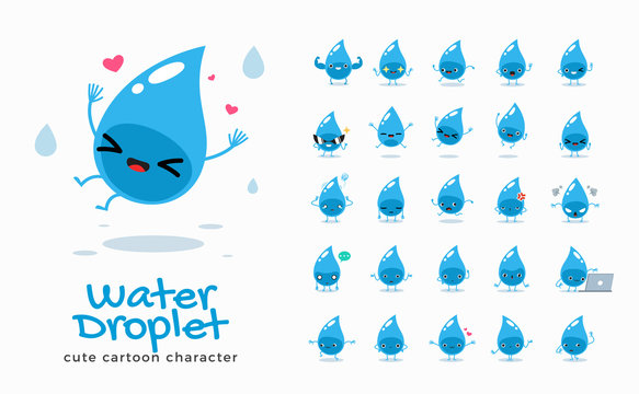 Vector set of cartoon images of Water. Vector Illustration.