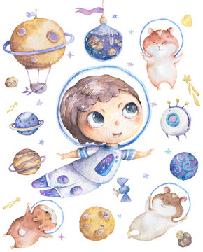 Cute smiling boy brown hair flowers in head take blue planet in hands set of satellites, planet and funny hamster Watercolor Set with space objects isolated on white Cartoon illustration for children