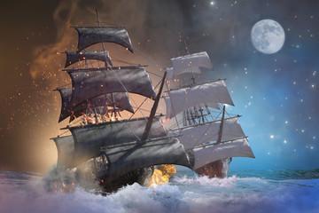 Wall Murals Ship sea battle pirate ship 3d render