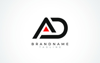A D Logo. AD Letter Logo Design with Black and Red Color.