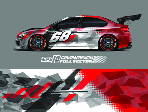 Rally car graphic livery design vector. Graphic abstract stripe racing background designs for wrap cargo van, race car, pickup truck, adventure vehicle. Eps 10
