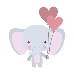 Cute elephant with hearts balloons vector design