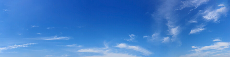Panorama sky with cloud on a sunny day. Beautiful cirrus cloud. Panoramic image.
