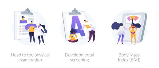 General health check up icons cartoon set. Head to toe physical examination, developmental screening, Body Mass Index BMI metaphors. Vector isolated concept metaphor illustrations.