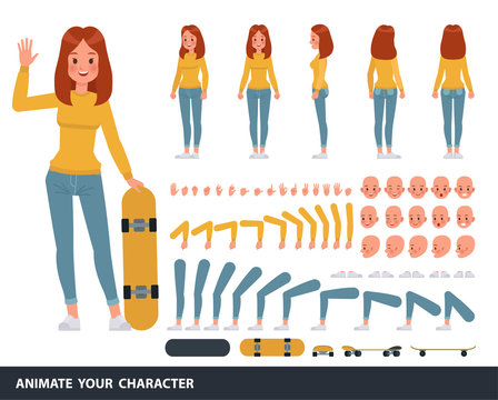 Woman wear yellow shirt character vector design. Create your own pose.