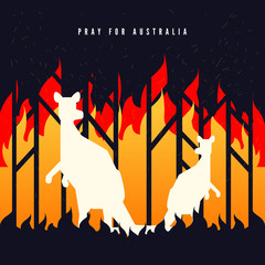 Pray for Australia banner. Forest in fire burning with kangaroo.