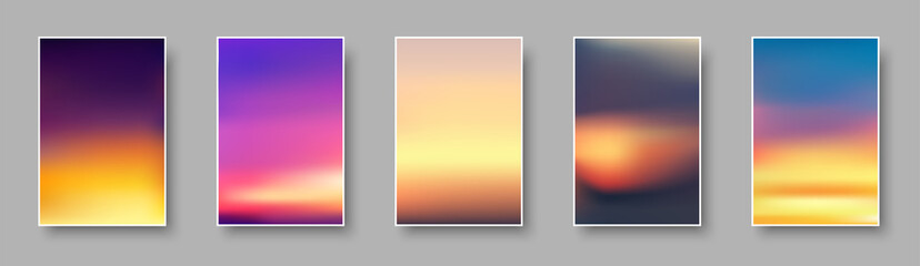 Set of colorful sunset and sunrise paper cards. Blurred modern gradient mesh background.