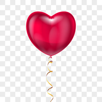 Realistic heart shape red balloon with lace on transparent background. Vector valentines day holiday, wedding or romantic dating symbol. Birthday, anniversary party celebration, surprice sign