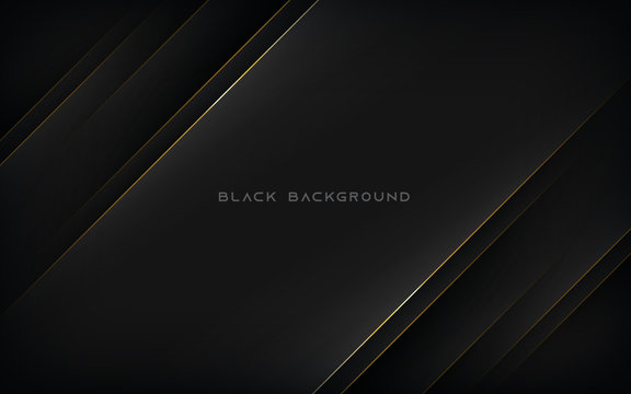 Modern abstract black background with gold line composition