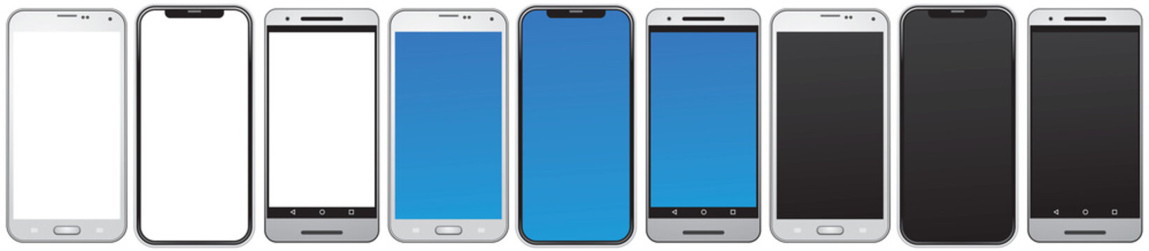 Smart phone, same types of the smartphones, mobile phones isolated with blank, blue and black screens vector illustration for the design or cell phone mockup
