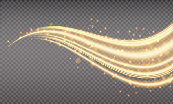 Golden swoosh, magic wave. Gold trail isolated on transparent background. Luminescent waved trail with bright bokeh and sparkles. Swoosh with stradust.