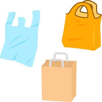 レジ袋、エコバッグ、紙袋のイラストセット