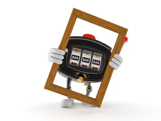 Slot machine character holding picture frame