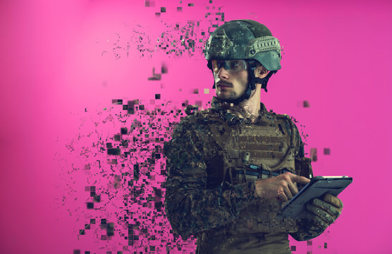 soldier using tablet computer closeup