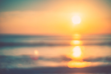 Poster Mer coucher du soleil Copy space of soft sand sea and blur tropical beach with sunset sky and cloud abstract background.
