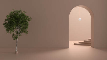 Imaginary fictional architecture, interior design of hall, empty space with arched door, copper lamp, concrete rosy walls, archways, oval staircase in the background and birch tree Fotomurales