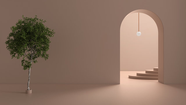Imaginary fictional architecture, interior design of hall, empty space with arched door, copper lamp, concrete rosy walls, archways, oval staircase in the background and birch tree