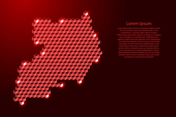 Uganda map from 3D red cubes isometric abstract concept, square pattern, angular geometric shape, for banner, poster. Vector illustration. Wall mural