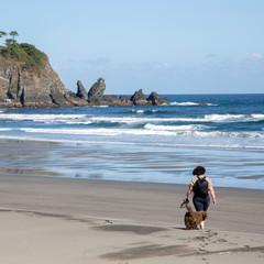 Woman and Dog at Barayo Beach; Asturias