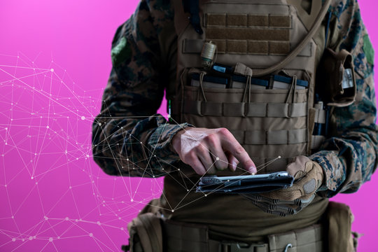 soldier using tablet computer closeup pixelated