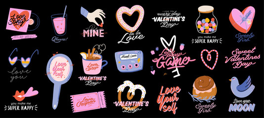 Beautiful love print with Valentines day elements. Romantic and cute elements and lovely typography. Vector hand drawn illustrations and lettering. Good for wedding, scrapbook, logo, t shirt design.