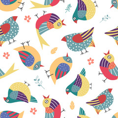 Seamless pattern with hand drawn bird in the white backdrop.