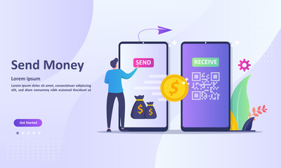 Send Money Concept, Money transfer to e-wallet, financial savings and online payment Suitable for web landing page, ui, mobile app, banner template. Vector Illustration