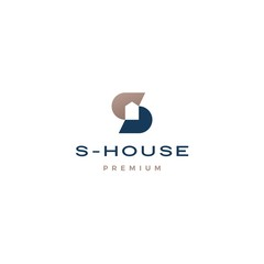 s letter house logo vector icon illustration