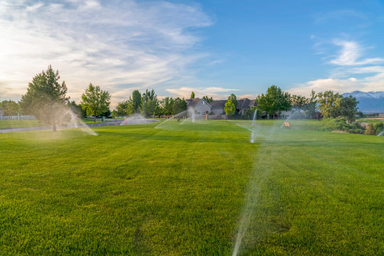 Sprinklers spraying water on green grasses with homes mountain and blue sky view