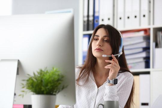 Attractive female customer support
