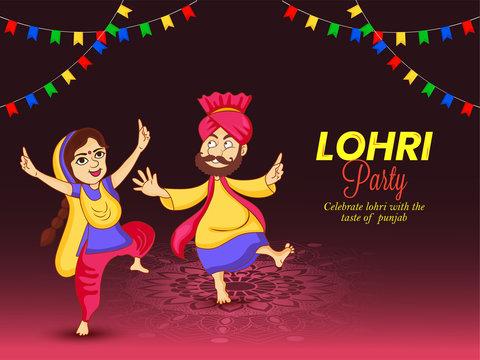 Illustration of Punjabi festival Happy Lohri party . Man and woman dancing bhangra on lohri party night.