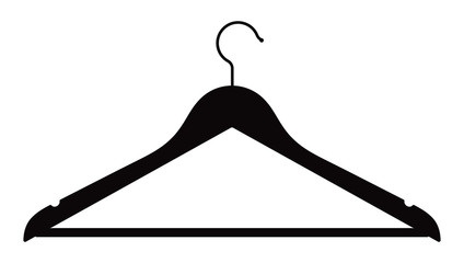 Silhouette of a clothes hanger on a white background. Vector illustration.