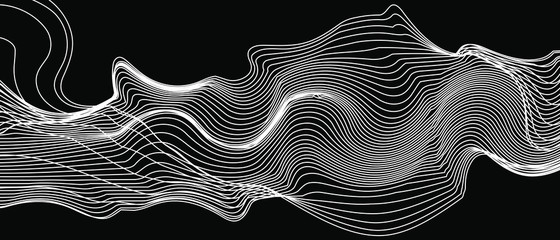 Autocollant pour porte Abstract wave modern abstract wave lines on black background vector