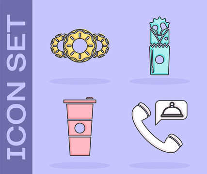 Set Food ordering, Donut with sweet glaze, Paper glass and water and Doner kebab icon. Vector