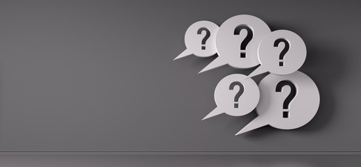 Question mark speech bubbles in front of a grey wall - 3D illustration