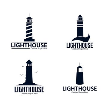set of business lighthouse logo design vector