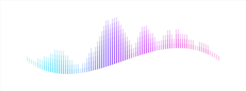 Technology sound wave visualization. Abstract audio player equalizer. Music and voice digital signal concept. Dj beat spectrum or rhythm. Stock Vector illustration isolated on white.