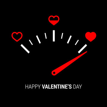 Love meter in speedometer design.Vector illustration with heart symbols and pointer