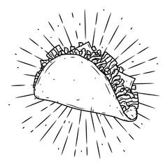 Taco. Traditional Mexican food. Vector illustration isolated on black background.