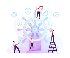 Corporate Governance and Team Work Concept. Group of Businesspeople Trying to Move Huge Steering Wheel under Management of Businessman with Spy Glass Stand on Top. Cartoon Flat Vector Illustration