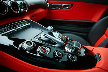 Detail of modern car interior, gear stick