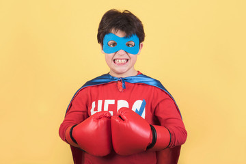 superhero, Portrait of boy in superhero costume