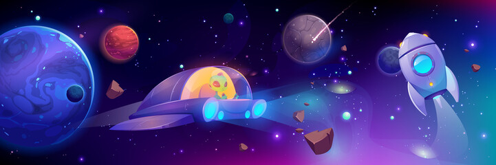 Alien flying in space ship. Cute extraterrestrial monster with green skin driving UFO in outer cosmos with stars, planets and asteroids. Rocket engine fly in universe. Cartoon vector illustration