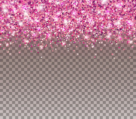 Wall Mural - Pink glitter particles and light effect sparks isolated on transparent background. Vector glow shimmer confetti texture for luxury card design..